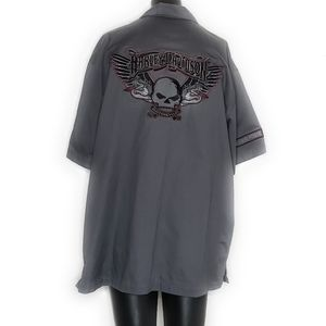 Harley Davidson Button Up Motorcycle Embroidered